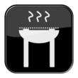 Glossy Button schwarz - Grill-Symbol