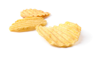 potato chips isolated on the white background