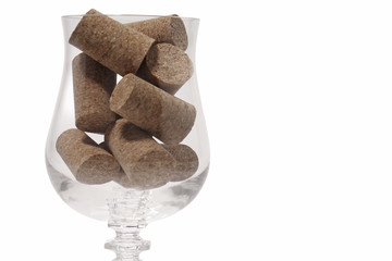 Glass and corks close