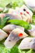 herring fillet with vegetables. Macro