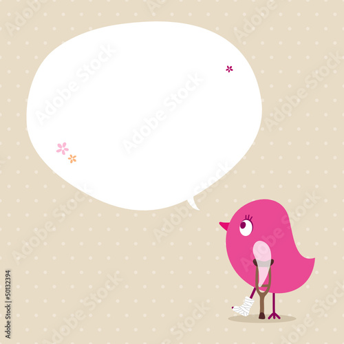 Pink Bird Leg In Plaster Speech Bubble Beige Dots