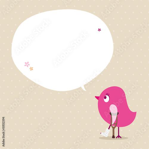 Pink Bird Leg In Plaster Speech Bubble Beige Dots
