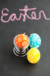 Colorful Easter egg shaped candles and text