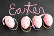 Pink Easter eggs and text