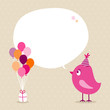 Pink Bird Birthday Gift Balloons Speech Bubble Beige