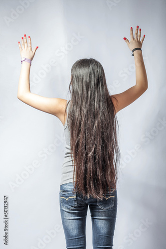 girl with long fair hair from back