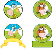 Dairy Cow Cartoon Logo Mascot Banner. Collection