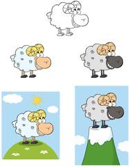 Ram Cartoon Mascot Character. Collection