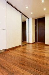Modern minimalism style corridor interior with sliding-door mirr