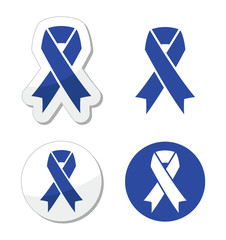 Navy blue ribbon - child abuse, drunk driving symbol