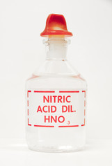 Nitric acid in a labeled bottle