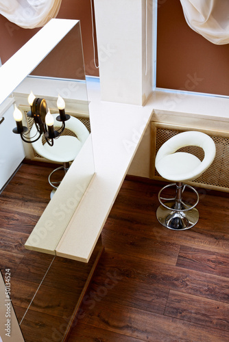 Wall mirror and bar tabletop top view, interior detail