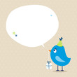 Blue Bird Birthday Gift Speech Bubble Beige Dots