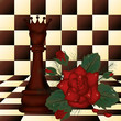 Chess Queen and red rose. vector illustration