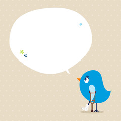 Blue Bird Leg In Plaster Speech Bubble Beige Dots