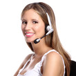 office telephone operator, smiling woman with headphones