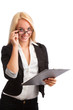 Young woman with checklist and glasses looking