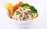 Laksa noodle soup with chicken, fresh vegetables and wonton poster