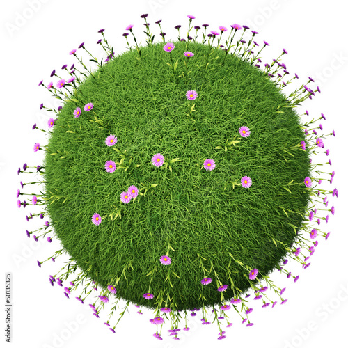 Grass ball with pink flowers