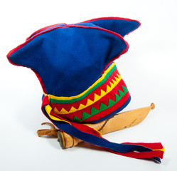 Blue four winds hat with a knife from Lappland