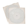 Two vinyl records in white sleeves