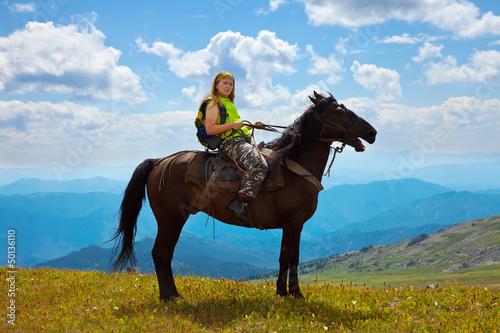 Female rider on horseback