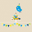 Flying Blue Bird 10 Cupcakes Festoons Beige Dots