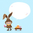 Bunny Handcart Speech Bubble Blue Dots