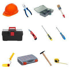 Construction tools and equipment on a white background.