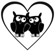 owl love - in heart