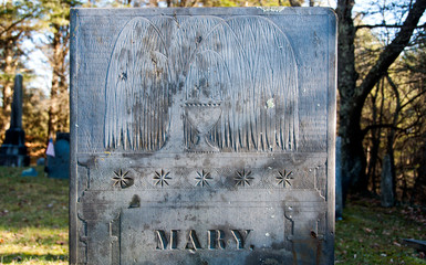 Willow and Urn motifs on Mary's slate gravestone
