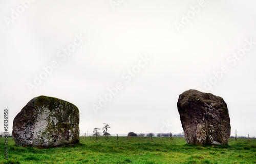 Two rhyolite boulders of Long Meg Stone Circle