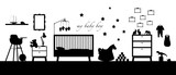 baby boy room interior black silhouette