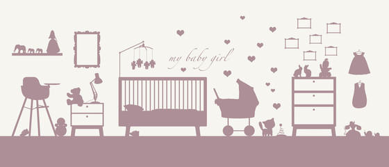 baby girl room interior pink silhouette