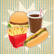 Retro background with fast food.