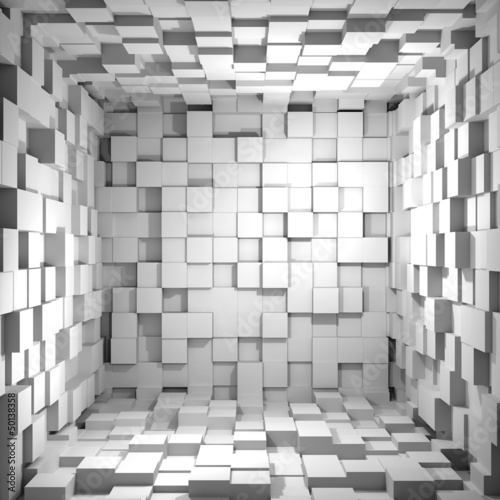 Plakat Cube room 3d - background