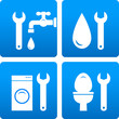 set with wrench, water drop, washing machine