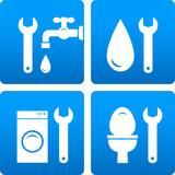 set with wrench, water drop, washing machine