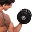 Closeup image of young man with dumbbell