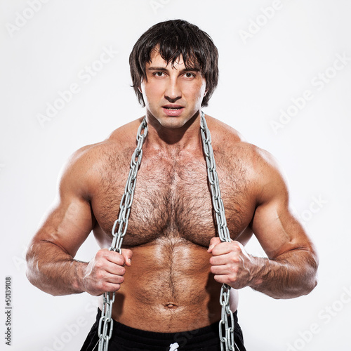 Agressive bodybuilder with chain