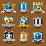 Soccer team emblems labels EPS 10