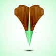 wooden green Map Pointer Icon. Vector