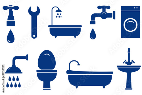 isolated bath objects on white background