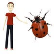 3d render of cartoon character with ladybug