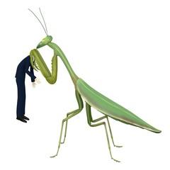 3d render of cartoon character eaten by mantis