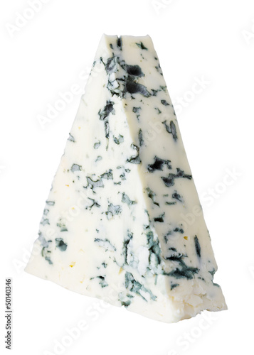Piece of blue cheese isolated on white
