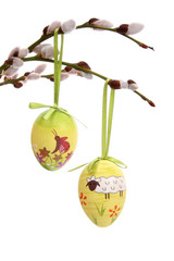 Easter eggs hanging from willow branches