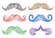 Hand-drawn mustache set, vector