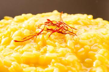Risotto allo zafferano - Saffron rice, closeup