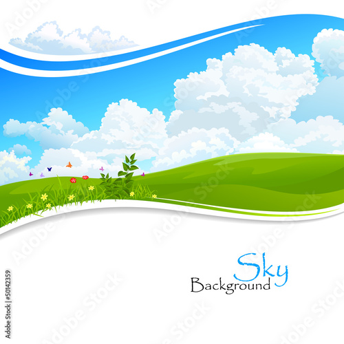 Wild flowers , Green hills and Blue Sky